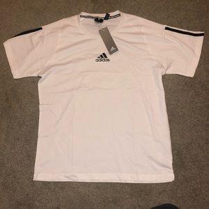 White Adidas Striped Tee